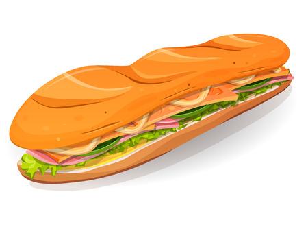 comiendo pan: Ilustración de un icono de sándwich de comida rápida de la historieta apetitosa, con rebanadas de jamón, mantequilla, queso, hojas de ensalada y pan francés clásico, para el restaurante de comida para llevar