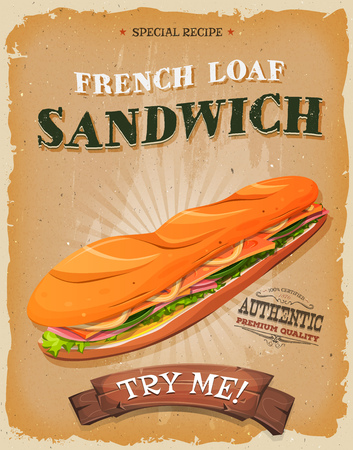 ham sandwich: Illustration of a design vintage and grunge textured poster, with appetizing sandwich made of ham, butter, salad and french loaf, for fast food snack and takeout menu