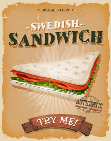 cream cheese: Illustration of a design vintage and grunge textured poster, with appetizing sandwich made of salmon fish slices, tomatoes, fresh cream and cheese, salad leaves swedish bread, for fast food snack and takeout menu Illustration
