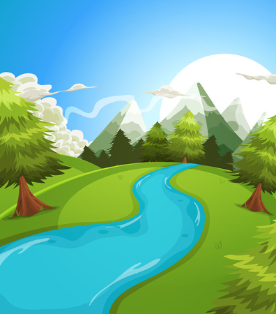 Illustration of a cartoon summer or spring high mountain landscape, with river, pine trees and firs for vacations, travel and seasonal holidays background Vettoriali