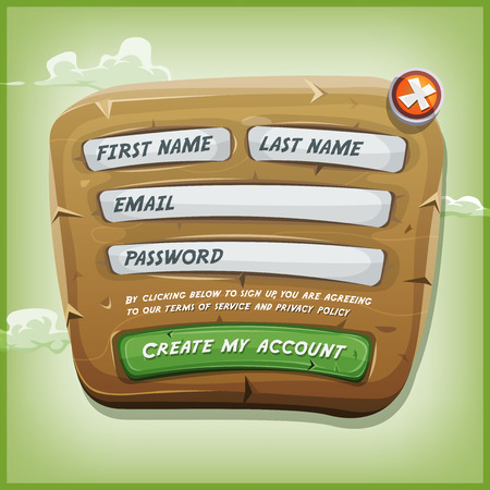login button: Illustration of a funny cartoon design ui app or game login form, on wooden panel, for terms of services and policy agreement on tablet pc, with green sky background Illustration