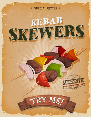 Illustration of a design vintage and grunge textured poster, with appetizing cartoon fast food kebab skewers icon, with meat, tomatoes, onions, bell peppers for bbq party and takeout restaurant menu