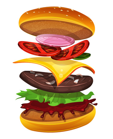 ingredient: Illustration of an appetizing cartoon fast food cheeseburger icon, with separated layers of tomatoes, red and yellow onions, salad leaves, cheese, ketchup sauce and beef steak