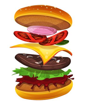 Ilustración de un icono de la hamburguesa apetitosa comida rápida de dibujos animados, con capas separadas de tomates, cebollas rojas y amarillas, hojas de ensalada, queso, salsa de tomate y carne de vacuno carne