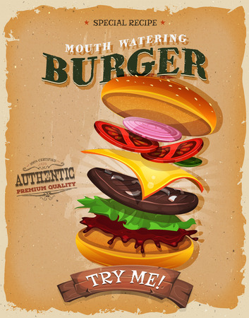 eating burger: Illustration of a design vintage and grunge textured poster, with appetizing fast food burgers, and separated layers of meat, tomatoes, onions, for bbq party and takeout restaurant menu