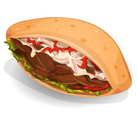 테이크 아웃 레스토랑 쇠고기 또는 양 고기 조각, 양파, 샐러드, 피망 식욕을 돋 우는 만화 패스트 푸드 케밥 샌드위치 아이콘의 그림