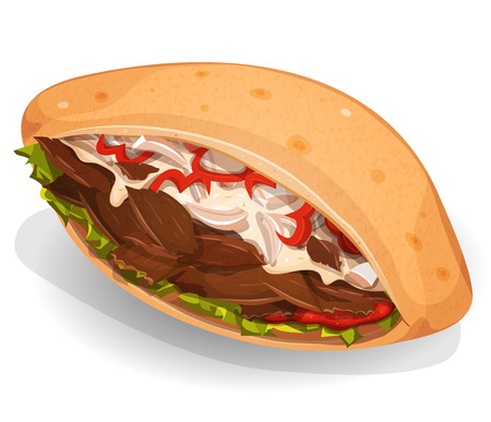 Illustration of an appetizing cartoon fast food kebab sandwich icon, with beef or sheep meat pieces, onions, salad, bell pepper for takeout restaurant