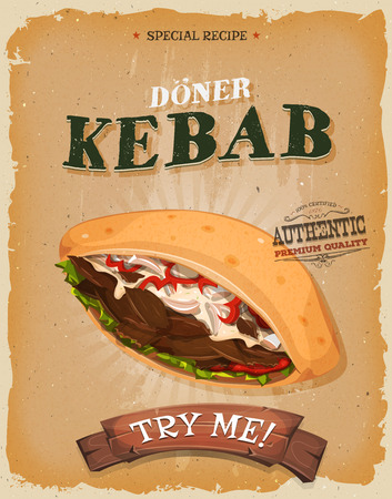 beef: Illustration of a design vintage and grunge textured poster, with appetizing cartoon fast food kebab sandwich icon, with meat, tomatoes, onions, salad for takeout restaurant menu