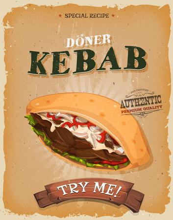 carne asada: Ilustración de un diseño de la vendimia y textura grunge cartel, con la historieta apetitosa comida rápida icono sándwich de kebab, con carne, tomate, cebolla, ensalada de menú de un restaurante de comida para llevar