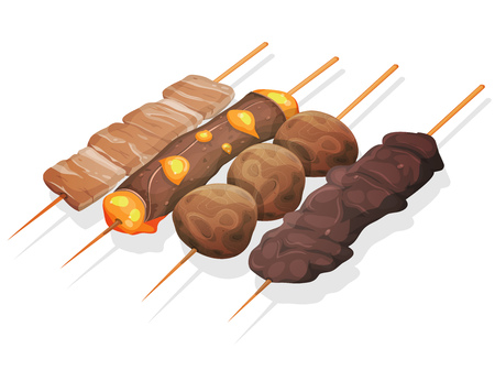 fried: Illustration of a set of appetizing cartoon yakitori skewers icons, with meat, beef and cheese, fried chicken croquettes, for asian fastfood and takeout restaurants