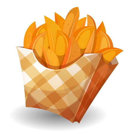 wedge: Illustration of cartoon wedge potatoes character with yellow striped carton package, for snack restaurant and takeaway food Illustration