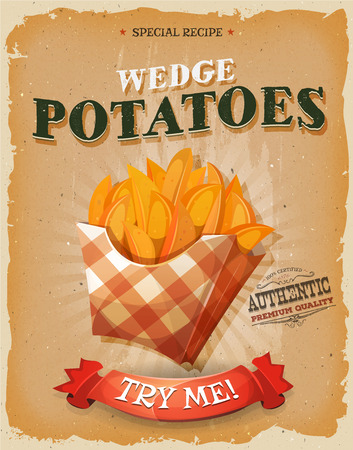 fry: Illustration of a design vintage and grunge textured poster, with wedge potatoes icon, for fast food snack and takeaway menu