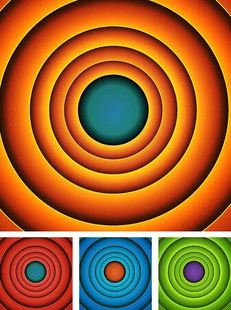 luminosity: Illustration of a set of entertainment cartoon colorful abstract backgrounds, with concentric rings and circles for advertisement and entertainment messages
