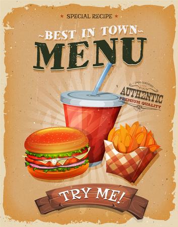 Ilustración de un diseño de cosecha, y el cartel del grunge con textura, con la hamburguesa, una taza de refresco para beber, y el icono de papas fritas francés, para el bocado de comida rápida y un menu Ilustración de vector