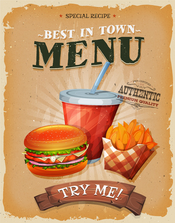 botanas: Ilustración de un diseño de cosecha, y el cartel del grunge con textura, con la hamburguesa, una taza de refresco para beber, y el icono de papas fritas francés, para el bocado de comida rápida y un menu