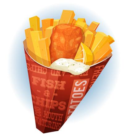 botanas: Ilustración de un pescado y patatas fritas británico apetitosa comida de dibujos animados, con pescado frito y patatas dentro del cucurucho rojo, para la merienda restaurante y comida para llevar