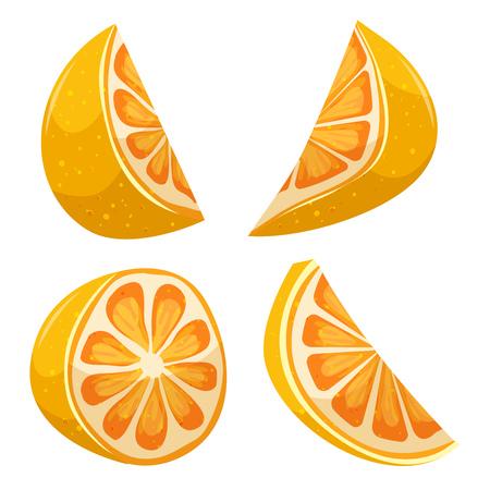 citron: Illustration of a cartoon lemon fruit slices set Illustration