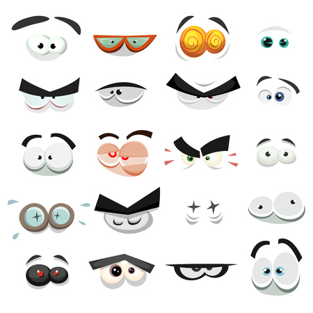 Illustration of a set of funny cartoon human, animals, pets or creature's eyes with various expressions and emotions, from fear and anger to joy, happiness, sadness, surprise, sick and boring Vectores