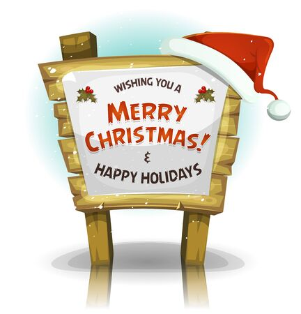 hat santa: Illustration of a cartoon red santa claus hat settled on wood sign in the snow for merry christmas holidays celebration Illustration