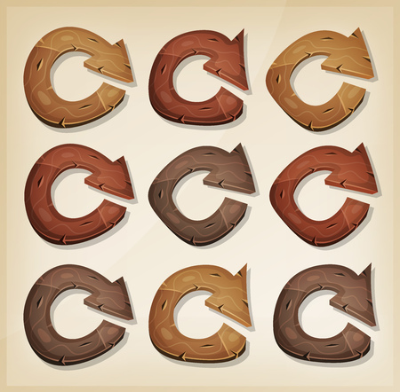 connexion: Illustration of a set of funny cartoon design wooden refresh function arrows icons, for app and ui game environment