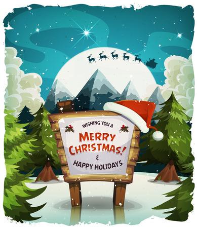 Illustration d'une nuit de dessin animé enneigé vacances de Noël fond, avec le signe du bois et le père caractère traîneau conduite à la lumière de la lune Banque d'images - 49848535