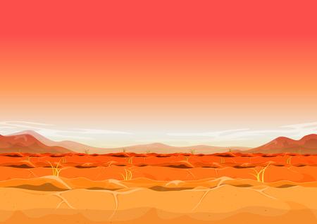 Illustration of a seamless far west desert landscape background in the sunshine for ui game