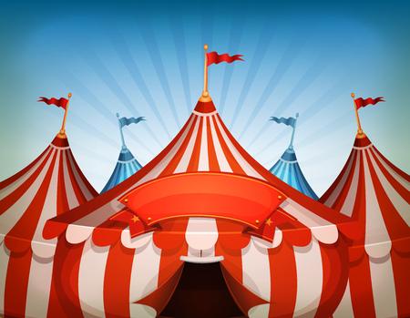 Ilustración de dibujos animados de blanco y rojo encima fondo grande carpas de circo con el marco o la bandera en un fondo de cielo azul