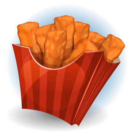 cornet: Illustration of a cartoon appetizing fried chicken dips meal, inside carton red box, for snack restaurant and takeaway food