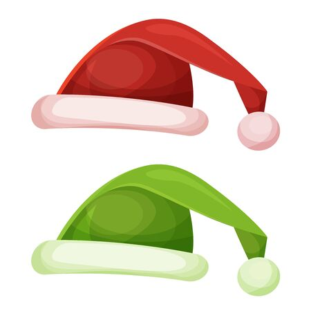 santa claus hats: Illustration of a cartoon funny santa claus hat, in red and green colors, for christmas celebration Illustration