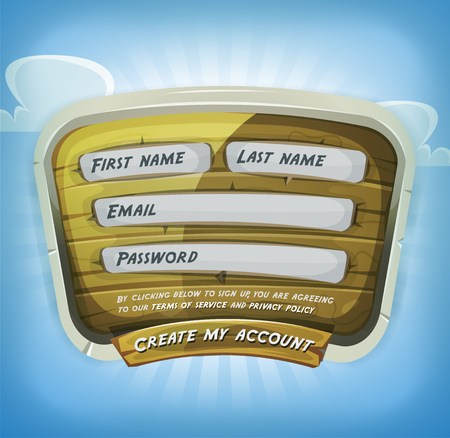 wooden panel: Illustration of a funny cartoon design ui app or game login form, on wooden panel, for terms of services and policy agreement on tablet pc, with clouds and blue sky background Illustration