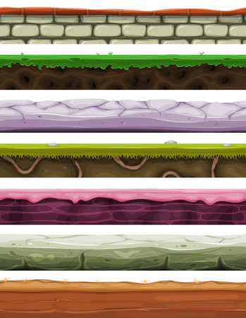 subterranean: Illustration of a set of seamless game player grounds, soils and platform foregrounds with patterns of wall, desert, creamy, sand, roots and green grass layers for user interface Illustration