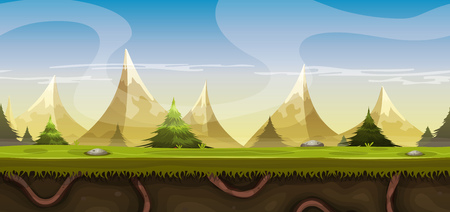 pine trees: Illustration of a cartoon seamless summer or spring high mountain landscape, with grass, roots, pine trees and firs for ui game or vacations, travel and seasonal holidays background