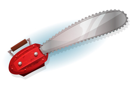 dangerous construction: Illustration of a cartoon funny chainsaw tool for lumberjack