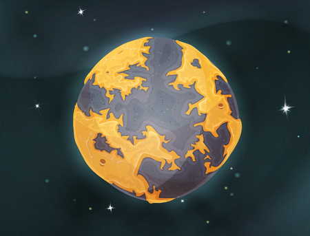 alien planet: Illustration of a cartoon design alien earth planet globe icon, with hand drawn desert land areas, sand and ocean frontiers