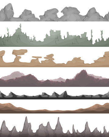 Illustration of a set of seamless mountains range with patterns of rock, stones and hand made mountains relief for game user interface