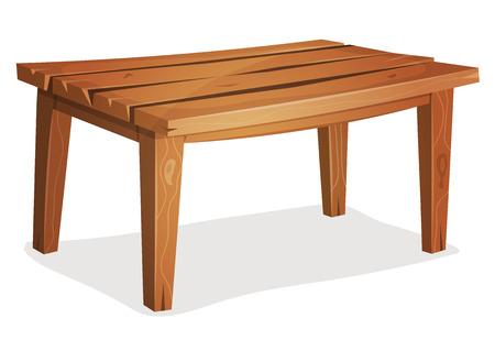 Ilustración de una cocina o jardín mesa de madera de dibujos animados divertido, aislado sobre fondo blanco para la creación de pintorescos interior del hogar Ilustración de vector