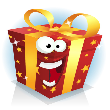 humor: Illustration of a cartoon funny christmas, birthday and anniversary gift character happy and cheerful, for sales