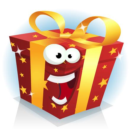 Ilustración de una caricatura divertida de la navidad, cumpleaños y aniversario carácter de regalo feliz y alegre, para las ventas