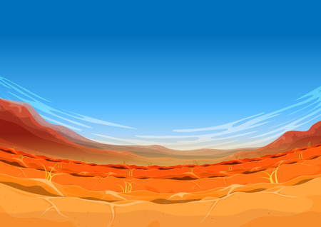 Illustration of a wide angle rounded far west desert landscape background in the sunshine for ui game