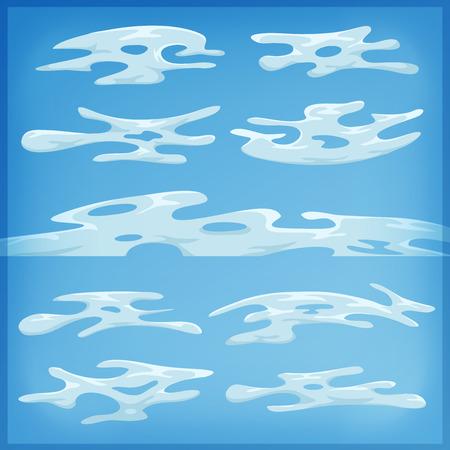 nubes de caricatura: Ilustraci�n de un conjunto de nubes de dibujos animados, los patrones de humo y niebla iconos divertido, para llenar sus escenas cielo o ui juegos fondos Vectores
