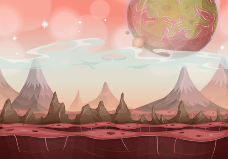 Illustration of a cartoon seamless funny sci-fi alien planet landscape background, with mountains range layers for parallax, stars and planets for ui game