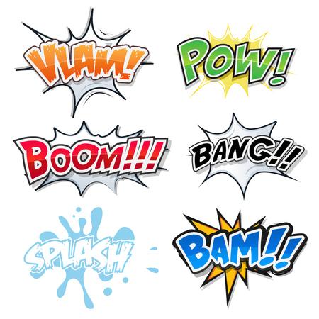 bide: Illustration d'un ensemble de bande dessin�e texte, des bombes explosion et de crash, les polices fx pop art, pour les magazines et les annonces de bande dessin�e Illustration
