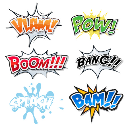bomb explosion: Illustration of a set of comic text, bombs explosion and crash, pop art fx fonts, for cartoon magazines and ads