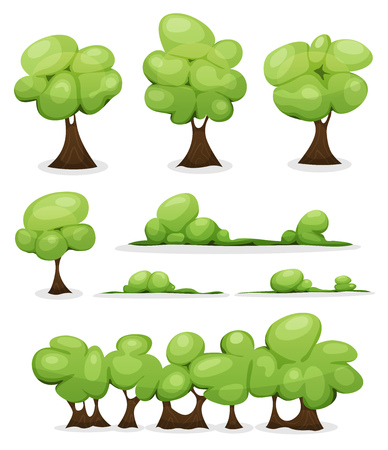 scenic's: Illustration of a set of cartoon spring or summer little trees and green icons, with bush and hedges foliage for ui game scenics Illustration