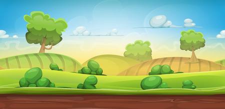 Ilustración de un fondo rural naturaleza verde inconsútil de la historieta con la hierba, pastos, prados, campos y árboles de juego ui pintorescos Vectores