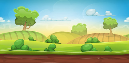 Illustration of a cartoon seamless green nature rural background with grass, pasture, meadows, fields and trees for ui game scenics