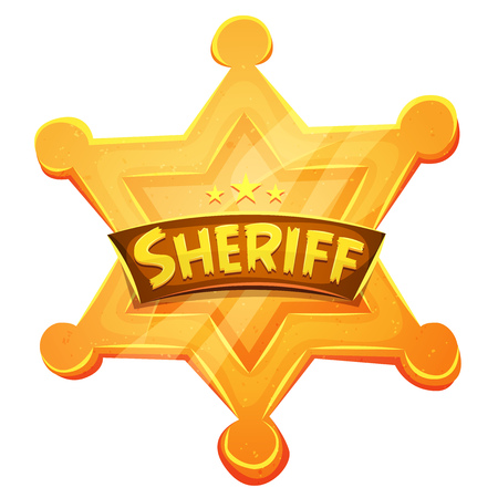police badge: Illustration of a cartoon funny golden sheriff medal, symbol for western police and law, authority, security and justice