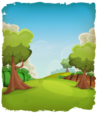 spring season: Illustration of a cartoon summer or spring rural landscape, with trees, meadows and harvest fields, and cloudscape over blue sky with grunge frame