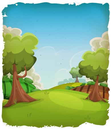arboles caricatura: Ilustración de un verano o la primavera de dibujos animados paisaje rural, con árboles, prados y campos de cosecha, y nubes sobre el cielo azul con el marco del grunge
