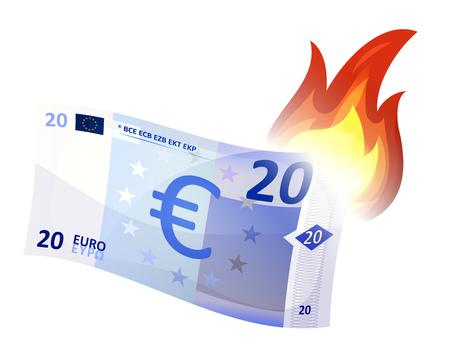 燃焼、欧州経済領域、債務危機、経済不況のクラッシュを象徴する漫画ユーロ紙幣のイラストです。簡素化されたグラフィックと仮想試験体 写真素材 - 51362518
